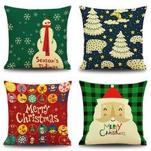 Snowman Elk Tree Wreath Christmas Pillow Case Xmas Home  Linen