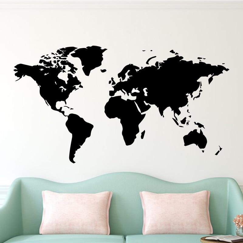 Grand 106cmX58 Sticker Mural décalcomanie carte du monde pour maison salon décoration autocollants chambre décor Wallstickers papier peint Mural