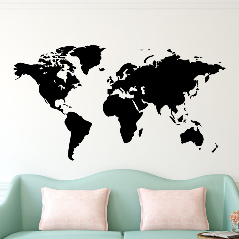 Large 106cmX58 Wall Sticker Decal World Map for House Living Room Decoration Stickers Bedroom Decor Wallstickers Wallpaper Mural image