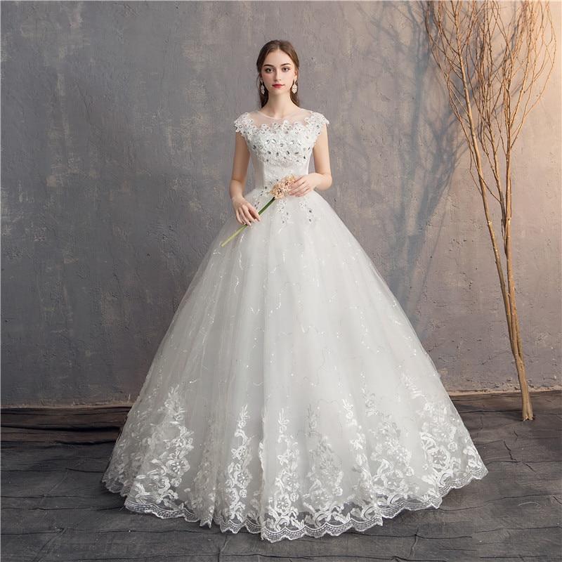 Ezkuntza 2019 Diamond Lace Wedding Dress O Neck Beading Ball Gown