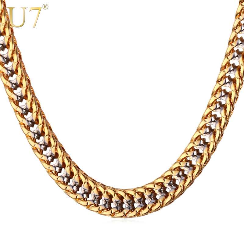 U7 Chain Necklace Men Gift Two Tone Gold Color Collier Drops