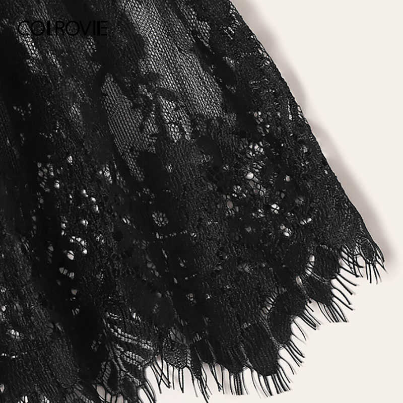 COLROVIE Schwarz Floral Spitze Criss Cross Backless Spielanzug-bodysuit Frauen 2019 Sexy Dessous Nachtwäsche Damen Teddies Nachtwäsche
