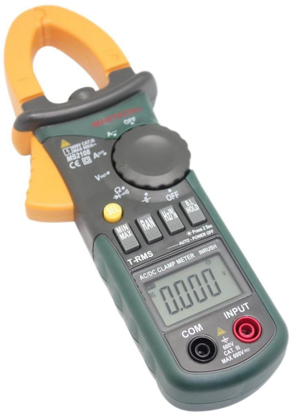 2017 New Mastech MS2108 Digital Clamp Meter True RMS LCD Multimeter AC DC Voltmeter Ammeter Ohm Herz. Duty Cycle Multi Tester  цены