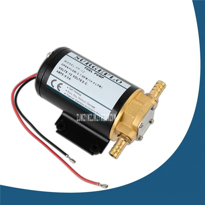 FP-12 12 v DC engrenage pompe à huile Mini auto-amorçante Diesel SuctionPump 168 W 12/3.2ipm/gpm 14A 3 m
