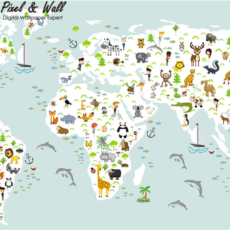 Cartoon animal world map wallpaper mural home decoration children cartoon animal world map wallpaper mural home decoration children room stdm30228 in wallpapers from home improvement on aliexpress alibaba group gumiabroncs Choice Image