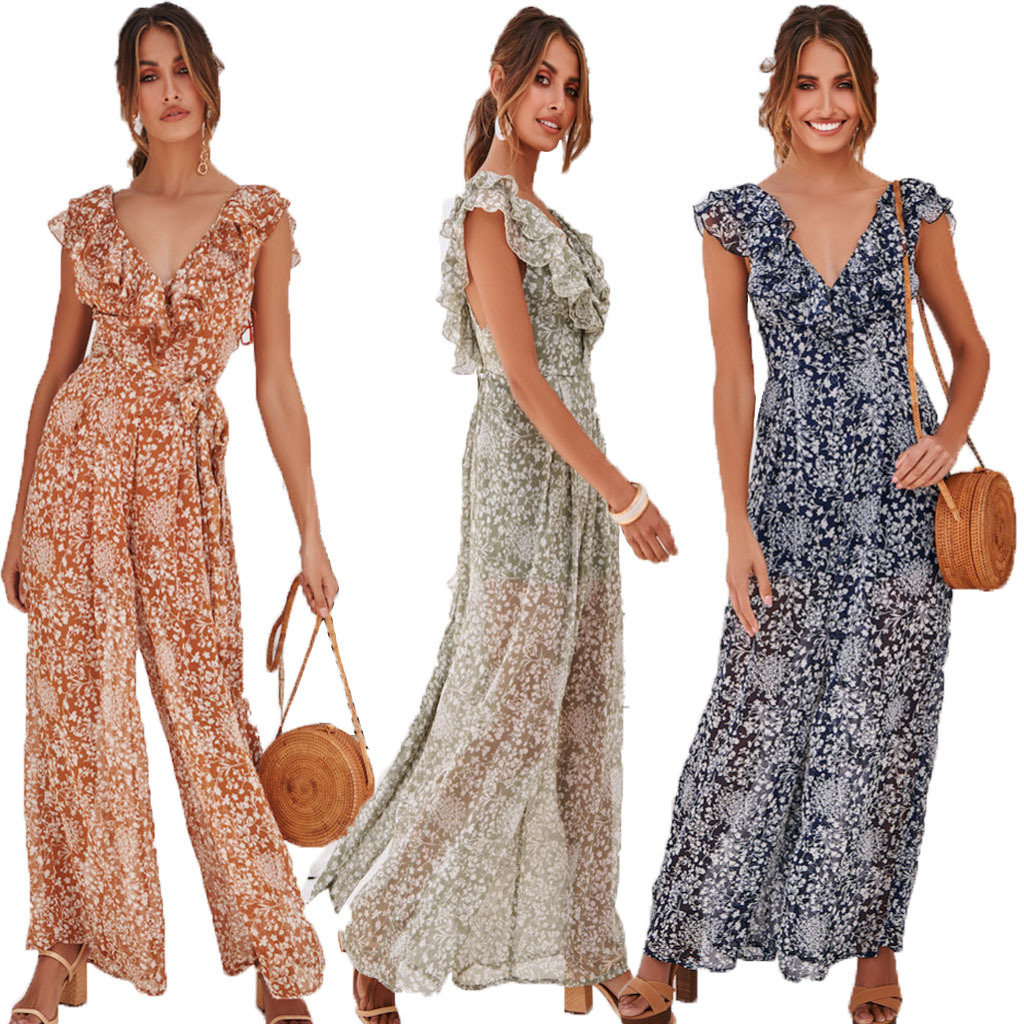 Women Wide Leg Jumpers Sexy Ladies Slim Backless Jumpsuit Elegant Female Beach Style Chiffon Prints Overalls Summer Playsuits