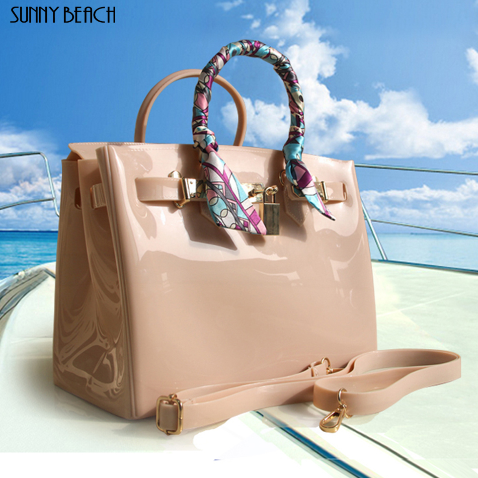 SUNNY BEACH 2019 new luxurious PVC waterproof women handbag Jelly Shoulder bags Casual Tote Bag summer beach bag