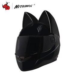 NITRINOS de la motocicleta del casco de la mujer personalidad Moto Capacete gato negro casco cara completa Moto casco de Moto casco