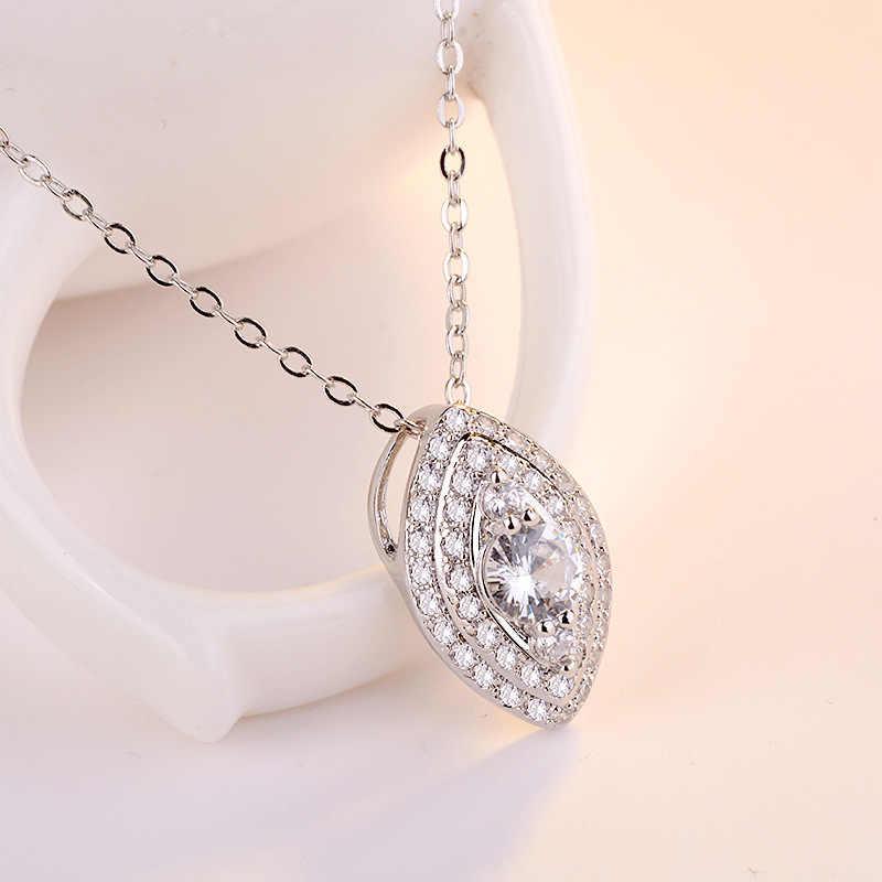 S925 Серебряное колье Циркон бриллиантовые подвески для женщин мама лучший подарок круглый геометрический драгоценный камень топаз модное украшение-кулон 2019