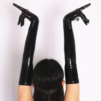 Sexy pcv błyszczące rękawiczki lateksowe Faux Leather długie rękawiczki Punk rękawiczki Sexy Hip-pop Jazz strój rękawice Cosplay kostiumy akcesoria F33 tanie i dobre opinie WOMEN lady