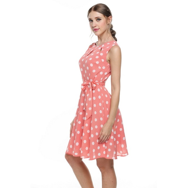 Zeagoo 2017 sexy summer dress dot print chiffon elegant casual bow dresses Party Dress vestidos mujer White Pink Blue Black XXL