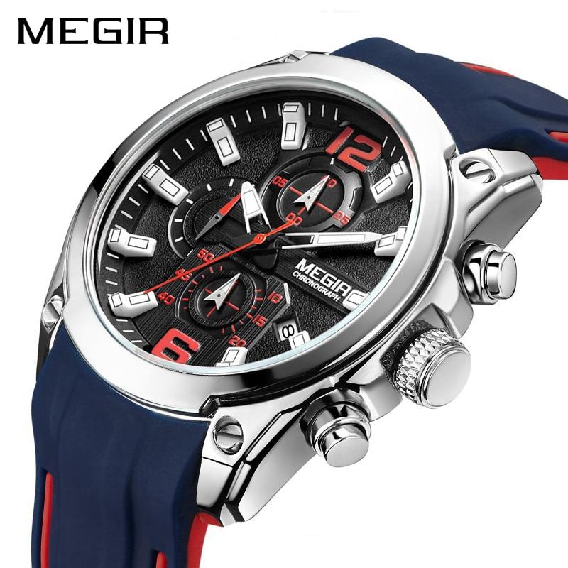 MEGIR Analog Chronograph Quarz Männer Uhr Uhr Relogio Masculino Luxus Marke Silikon Armee Militär Sport Uhren Herren Handgelenk-in Quarz-Uhren aus Uhren bei  Gruppe 1