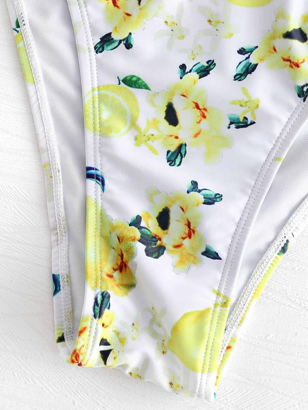 ZAFUL kobiety Lace-Up kwiatowy cytrynowy nadruk Bikini Set drut bezpłatne wyściełane brazylijski Biquini na co dzień stroje kąpielowe lato strój kąpielowy 2019
