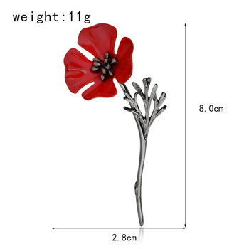 3D Vintage Red Poppy Flower Squid Brooch Pin Collar Corsage Gold Silver Black Pins 1