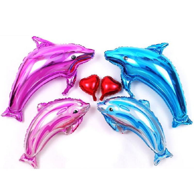 돌핀 알루미늄 호일 풍선 3 개 / 많은 웨딩 생일 파티 웨딩 장식 용품 장식 알루미늄 풍선