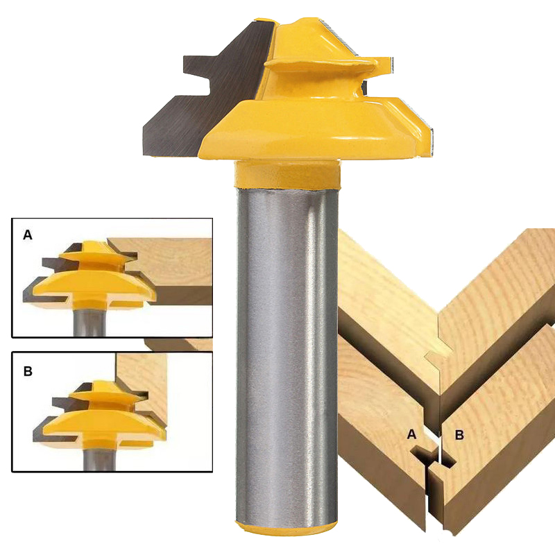 цена на New 1PC Small Lock Miter Router Bit Anti-kickback 45 degree 1/2 inch Stock 1/2 inch Shank Tenon Cutter for Woodworking Tools