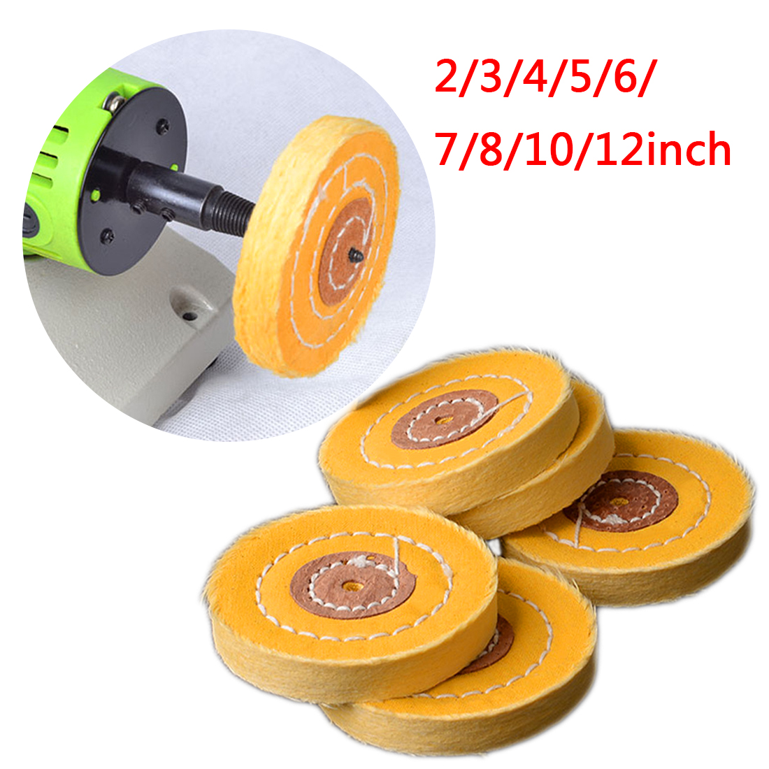 4mm Inner Diameter 50-300mm Cotton Lint Cloth Buffing Wheel Gold Silver Jewelry Mirror Hardware Polishing Wheel Tool Yellow
