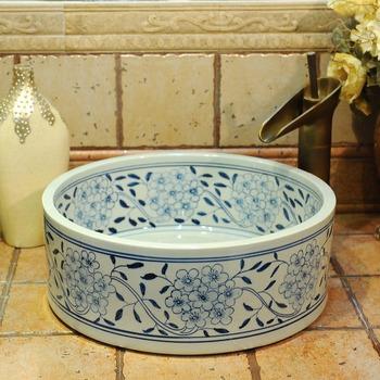 Niebieski biały porcelana europa Vintage Style umywalka ceramiczna umywalka ceramiczna umywalka umywalka umywalka umywalki łazienkowe umywalki łazienkowe blat tanie i dobre opinie JINGYILE Zlewy na szampon Zlewozmywaki blatowe Pojedynczy otwór ROUND Rozpylanie emalii D40-42cm H14-16cm As show picture