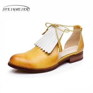 Image 5 - صنادل نسائية مسطحة من الجلد الطبيعي أحذية نسائية من Yinzo صنادل صفراء مسطحة أحذية نسائية كلاسيكية أحذية أكسفورد للنساء 2020