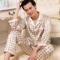 Siriusha Весной и осенью тонкий искусственный шелк пижамы мужской Летом шелк пижамы с длинными рукавами кардиган набор гостиная плюс размер