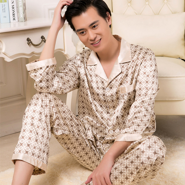 Siriusha Spring and autumn thin faux silk sleepwear male Summer silk sleepwear long-sleeve cardigan lounge set plus size