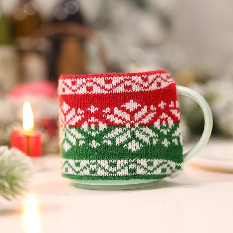 Promo Knitted Mug Coffee Tea Cup Sleeve Warmer Holder Christmas