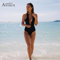 Anibol 2017 Sexy Backless One Piece Women Swimsuit Hot Sale Red Vintage Swimwear Black Girls Bathing
