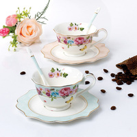 New Style Ceramic Flower Porcelain Tea Cups Pastoralism Coffee Cups And Saucers Designs Foam Packing