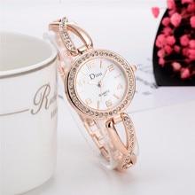 Montre femme 2017 Роскошные модные розового золота Для женщин элегантный браслет горный хрусталь кварцевые часы Мода Женская одежда часы