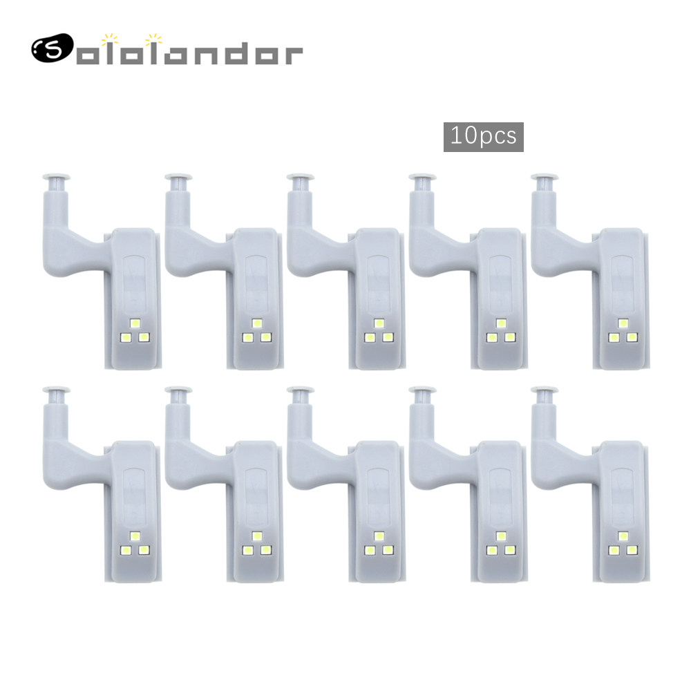 SOLOLANDOR 10Pcs LED Smart Touch Induction Cabinet Light Cupboard Inner Hinge Lamp Sensor Light Night Light For Closet Wardrobe