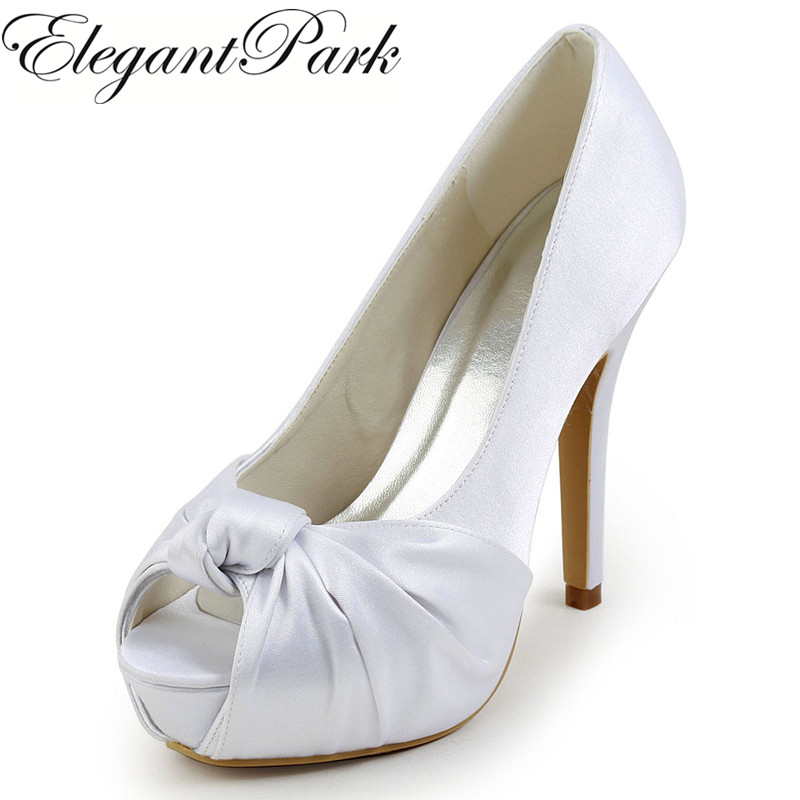 EP2071-IP Women Shoes High Heel White Ivory Peep Toe Platform Knots Satin Woman Wedding Shoes Lady Bride Prom Party Pumps Silver navy blue woman bridal wedding sandals med heel peep toe bride bridesmaid lady evening dress shoes white ivory pink red hp1623