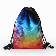 Fashion Women Drawstring Bags Cute Backpacks Universe Stars 3D Printing Travel Storage Backpacks Portable Travel Outdoor Bag