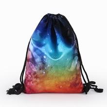 Fashion Women Drawstring Bags Cute Backpacks Universe Stars 3D Printing Travel Storage Backpacks Portable Travel Outdoor