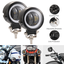 2Pcs 40W 3 Inch Waterproof Round  LED Work Light Angel Eyes Bar 8000LM Spot for Motorcycle Offroad Car Boat