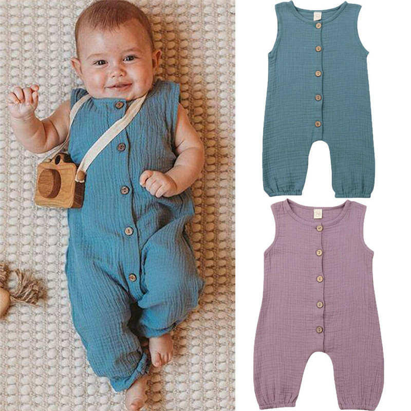 PUDCOCO UK Hot Newborn Toddler Kids Baby Girls Boys Solid Button   Romper   Jumpsuit Outfits Summer Casual Fashion Clothes 0-24M