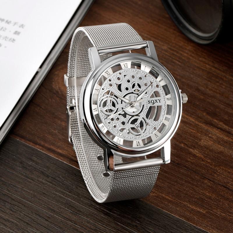 Fashion SOXY Watch Silver & Golden Luxury Hollow Steel Watches Men Women Unisex Hombre Quartz Wrist watch Clock Retro Relogio 4