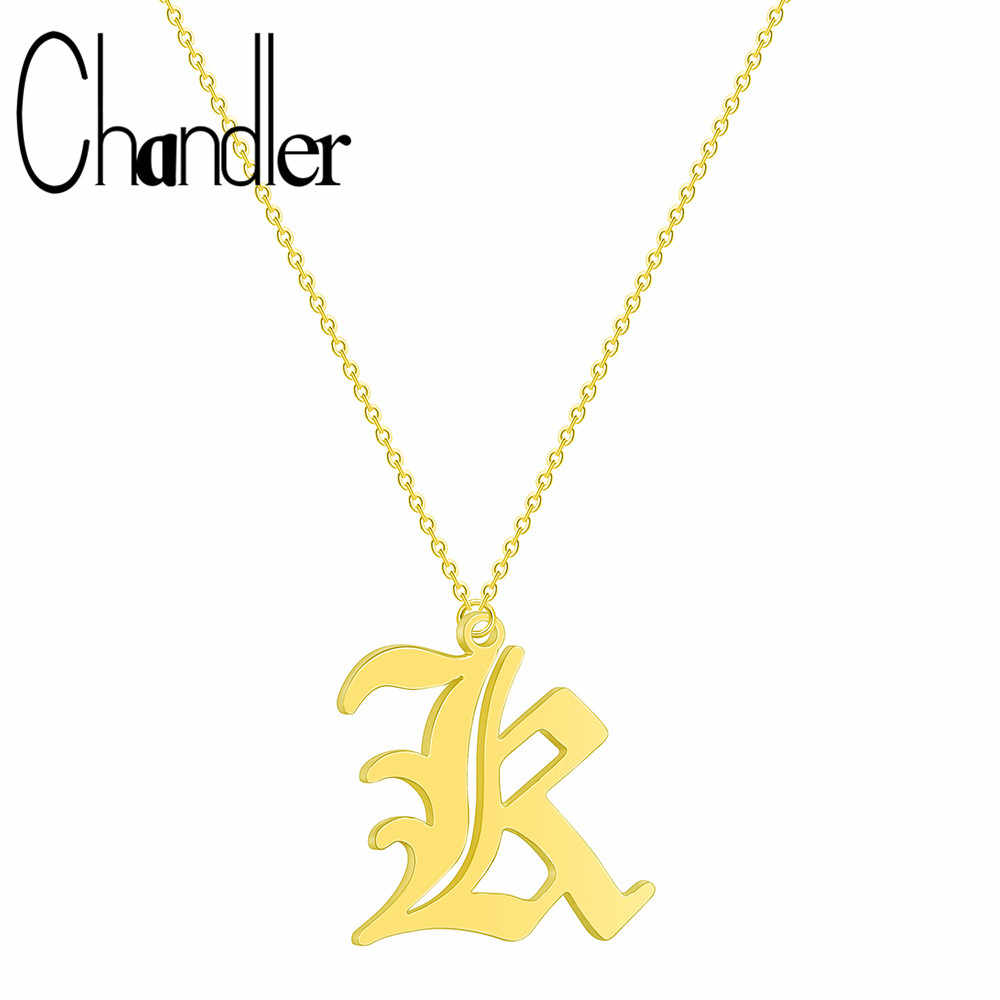 Chandler 2019 Europe US Fashion Old English Letter R Pendant Text Necklace Gift For Mom Girlfriend Party Stainless Love Jewelry