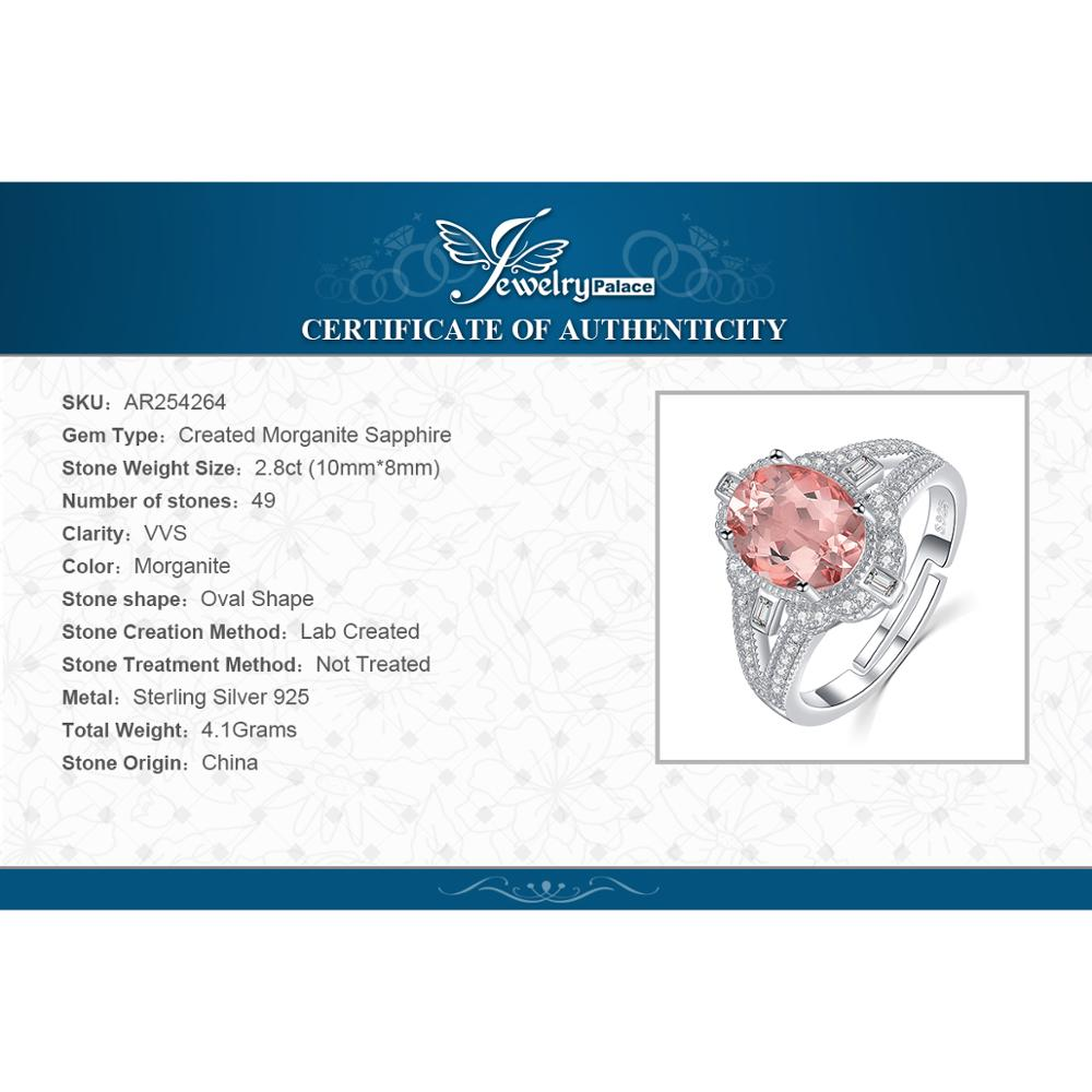 Image 5 - JewelryPalace Vintage Split Shank 3ct Oval Created Morganite Sapphire Adjustable Open Ring 925 Sterling Silver Jewelry MakingRings   -