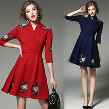 Milan Paris Designers Dress 2017 Spring Women's Top Fashion Luxury Sequins Embroidery Collar Exclusive Short embroidered Dress