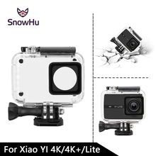 цена на SnowHu 40M Diving Touchable Waterproof Case for Xiaomi Yi 4K 4K+ Lite Action Camera Accessories Underwater Case GP300