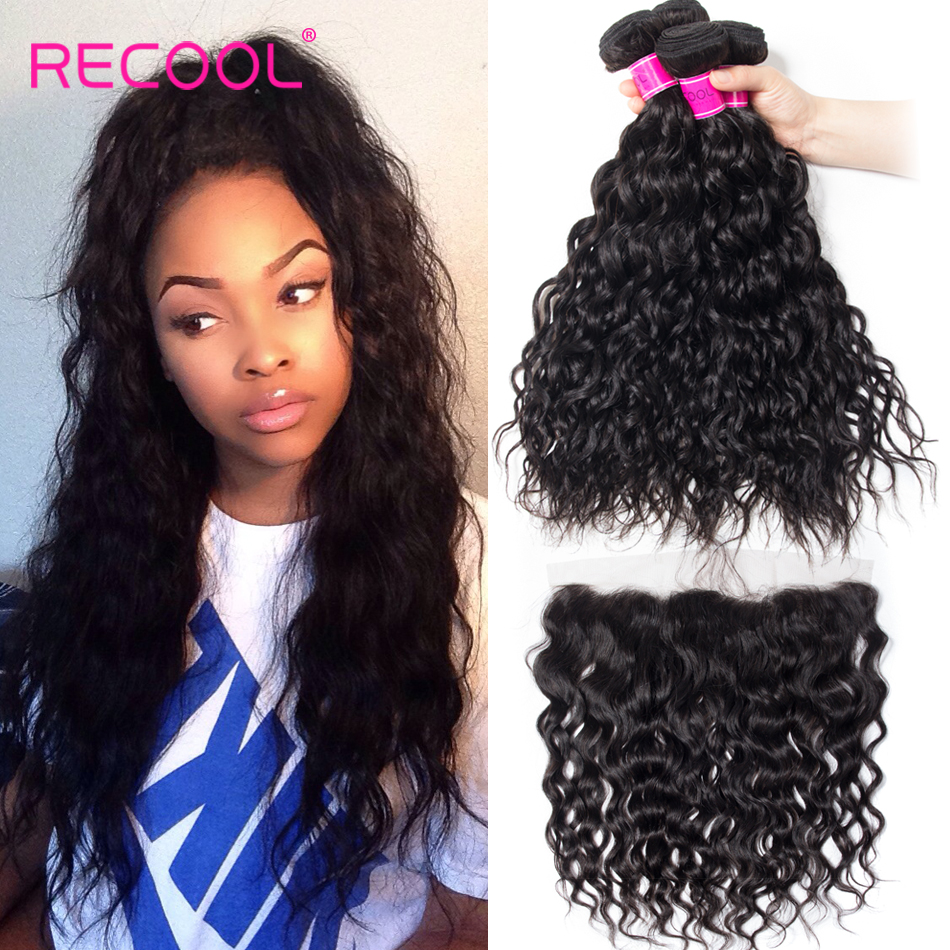 Recool Hair Brazilian Water Wave Bundles With Closure Remy Hair Lace Frontal With Bundles Deal Human