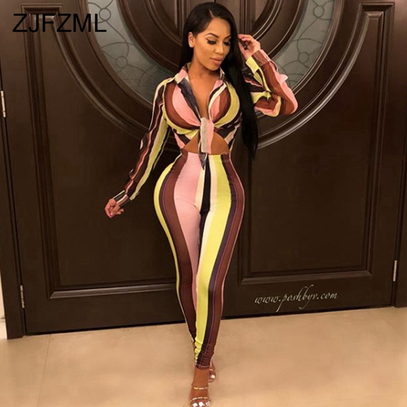 ZJFZML Sexy Two Piece Tracksuits For Women V Neck Full Sleeve Short Top+Bodycon Pant Autumn Outfit Casual Striped 2 Piece Set