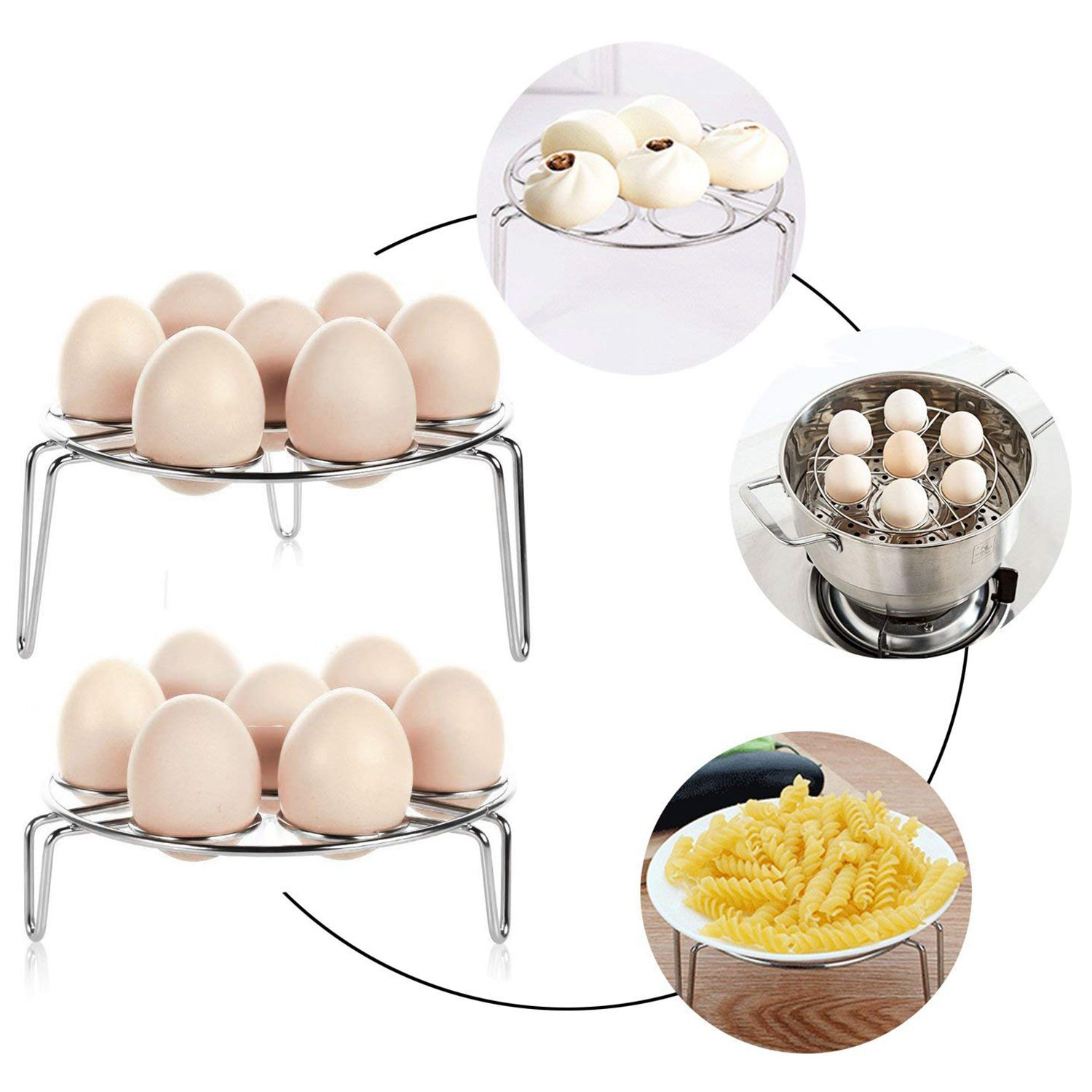 2PC 7 Egg Steamer Rack Holder For Cooking,Steamers Stock Basket Stand Pasta Pots, 304 Stainless Steel Pressure Cooker accessor