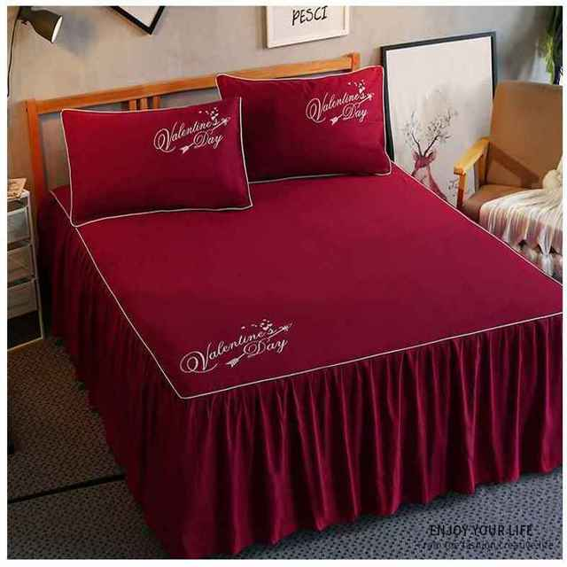 1/3pcs Ruffles Mattress Cover Romantic Princess Bed Skirt Bed Sheet Solid Color Bedspreads Flat Sheet Twin Queen King Size