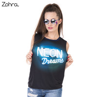 Zohra 2017 New Design Woman Tanks Top Neon Dreams Printing Sexy Vest Women Fashion Loose Long