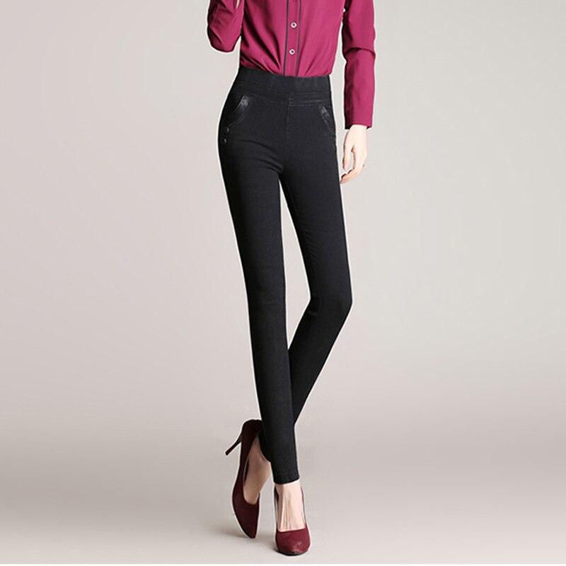 2017 Spring Autumn Lmitation Jeans Pants Women Elastic Waist Trousers Ladies Vintage Pencil Slim Skinny Jeans Big Yards 2016 autumn winter lmitation jeans pants