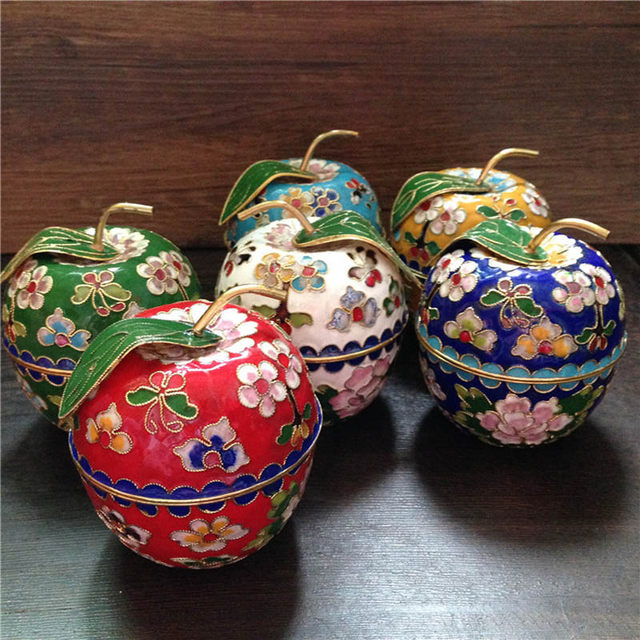 Classic Chinese Jewelry Box Earrings Storage Powder Case Apple Shape  Vintage Style Floral Pattern Enamel Cloisonne