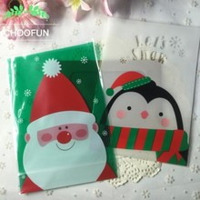 20pcs 14*20cm OPP Stand Up Pouch Christmas Santa Penguin Style DIY Gift Package Plastic Bag Cookie and Candy Packaging bags B083