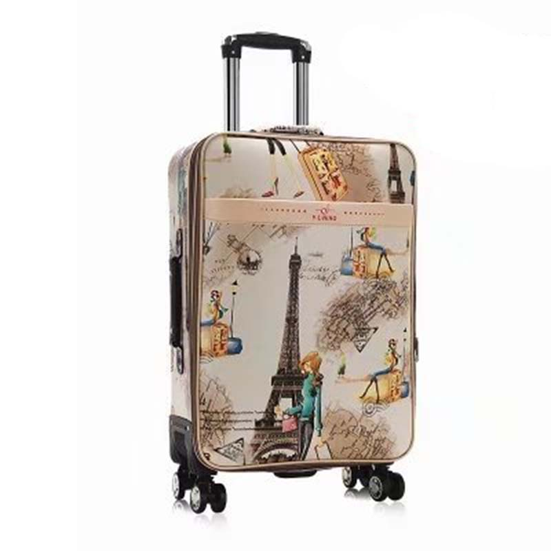 LeTrend Tower Pattern Rolling Luggage Spinner Password Trolley 28 Inch Large Capacity Suitcase Wheels 20 Inch Cabin Travel Bags