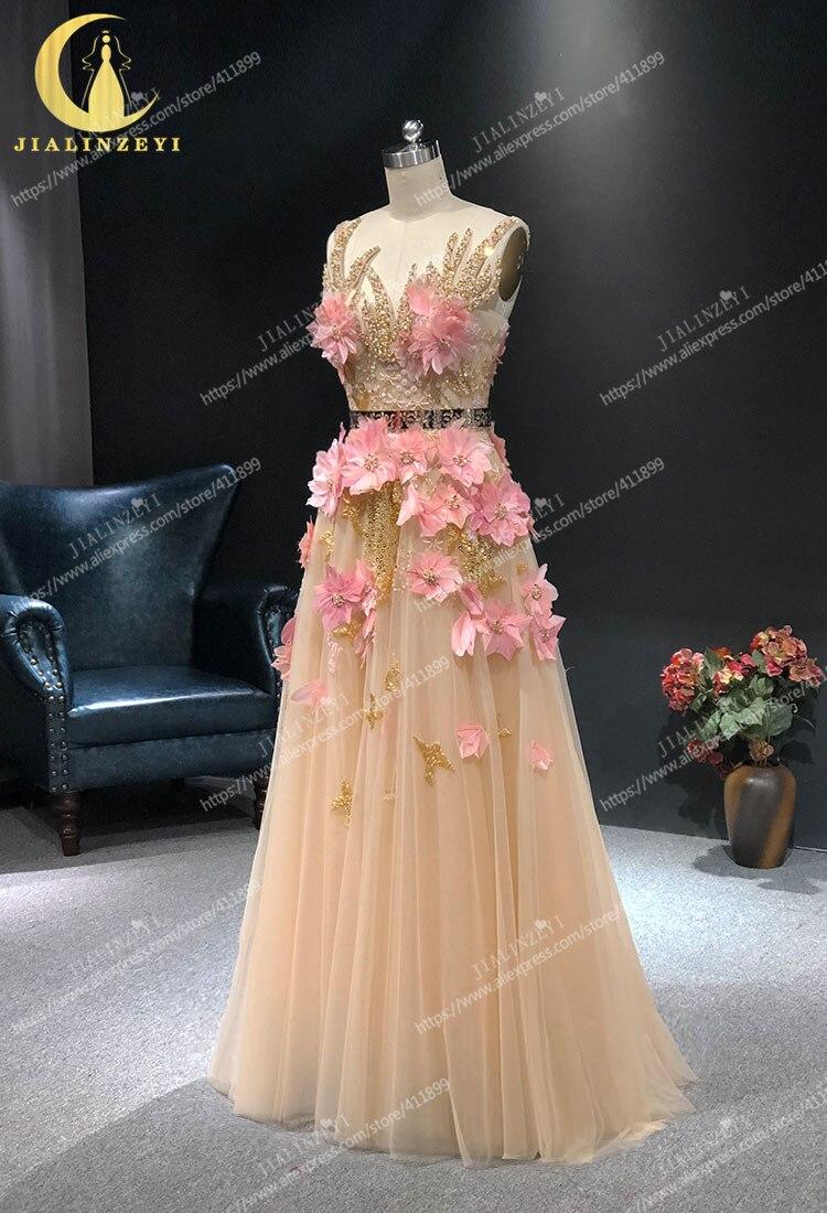 JIALINZEYI image réelle Champagne avec des fleurs de plumes roses longueur de plancher Elie saab robes formelles robes de soirée de fête - 3